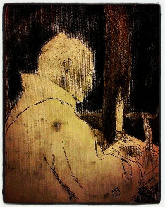 Il monaco, matita e carboncino by Alberto Scarpulla 2016