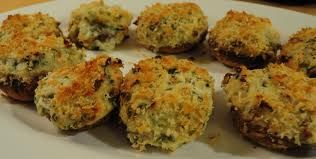Jumbo Stuffed Mushrooms 20 fresh mushrooms (stuffers), 3 tbs butter, 2 tbs finely chopped onions, 2 tbs finely chopped red pepper, ½ cup bread crumbs, tbs Parmesan cheese, ½ tsp Italian seasoning. Remove stems from mushrooms, chop stems to make 1/4 cup, melt butter in a pan on medium heat, add stems, onions and peppers, cook until tender, once tender stir in bread crumbs, cheese and Italian seasoning, spoon into mushroom caps, place on a baking sheet and cook at 400⁰F for about 20 minutes