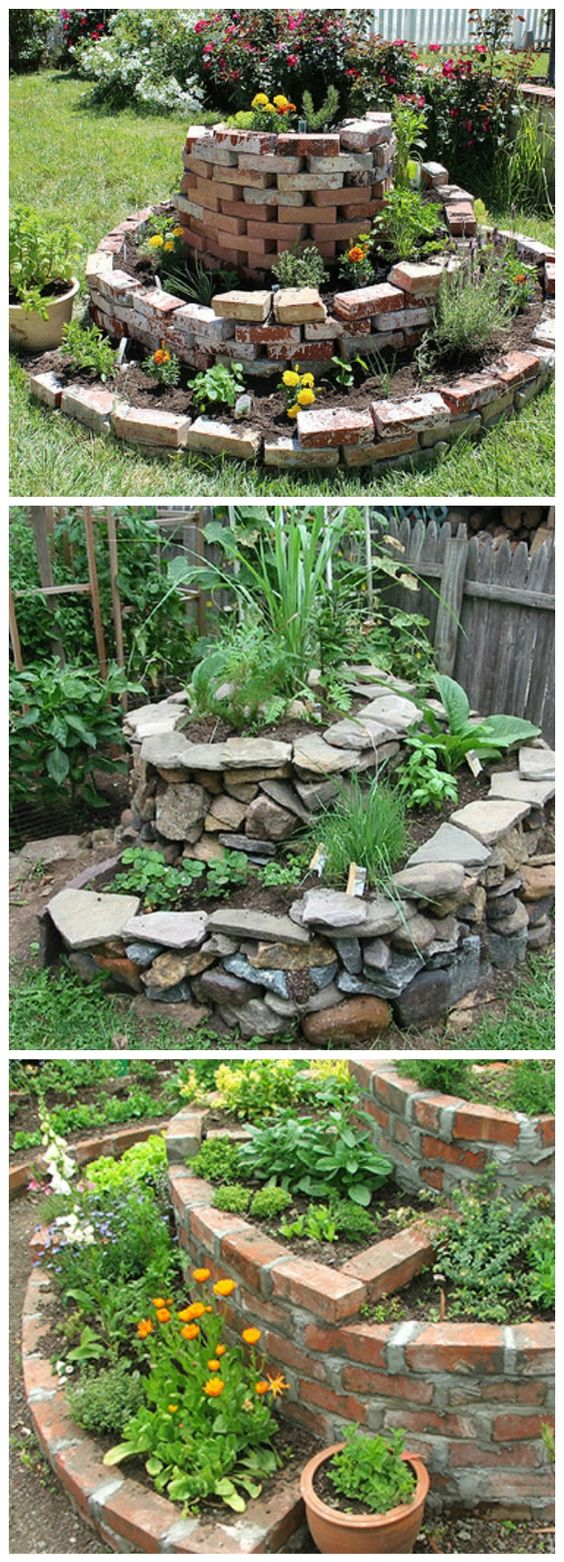 How to build a herb spiral garden design pinterest for Permaculture garden designs