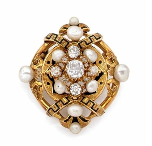 A diamond, natural pearl, enamel and 18k yellow gold brooch, Napoleon III period http://storage.canalblog.com/32/13/119589/105277505_o.jpg