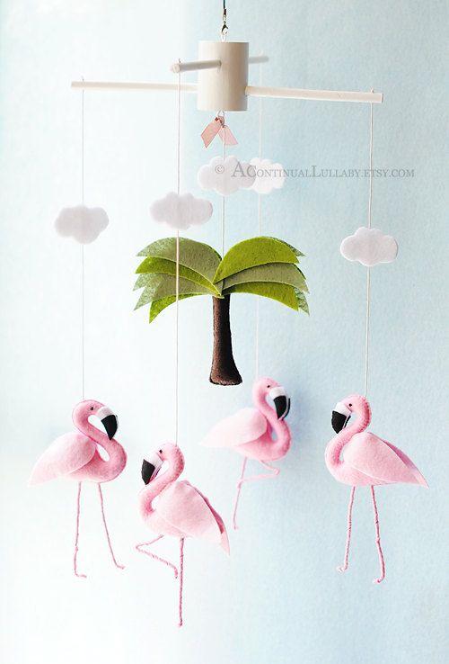Pink Flamingo bébé Mobile Baby Girl pépinière par AContinualLullaby: