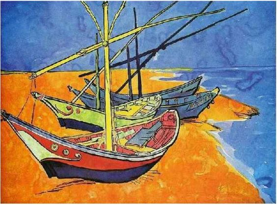 Van Gogh Boats on the Beach of Saintes-Maries