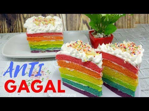 Cara Membuat Rainbow Cake Kukus Resep Paling Lengkap Mudah Diikuti Youtube Kue Pelangi Kue Kering Kue