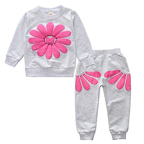 Spring Boy Girl Cute Children Long Sleeve Floral Clothes Suit Top With Pants Set