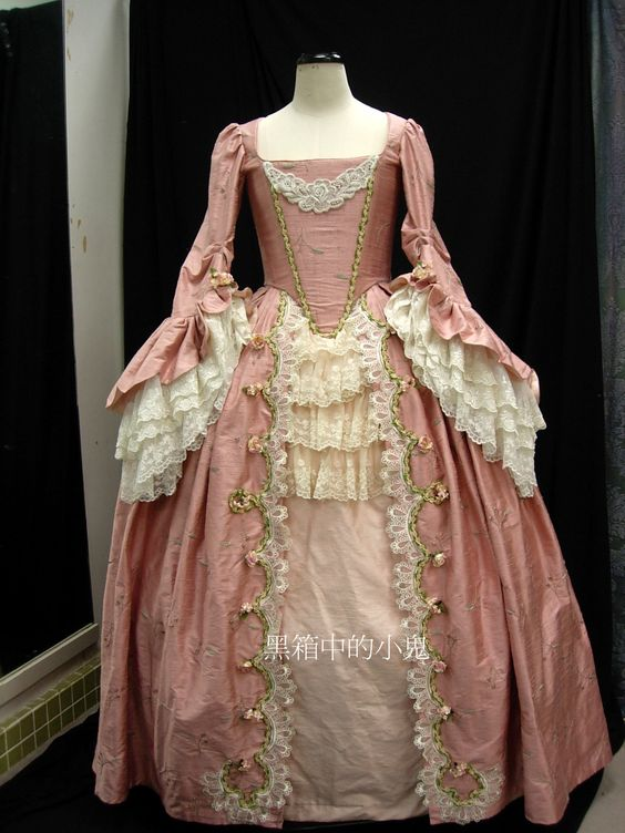 Period: 18th Century - Sack dress Material: Embroidered thai silk, dyed lace, decorative flowers, the marschallin!!