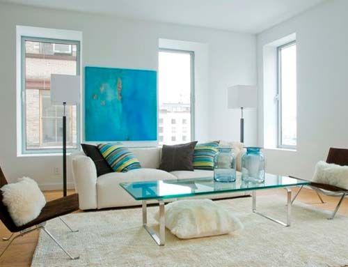 Azul turquesa en interiores decoracion turquesa - Decoracion paredes salones ...