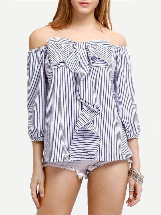 Blusa Listrada Ombro a Ombro - Compre Online