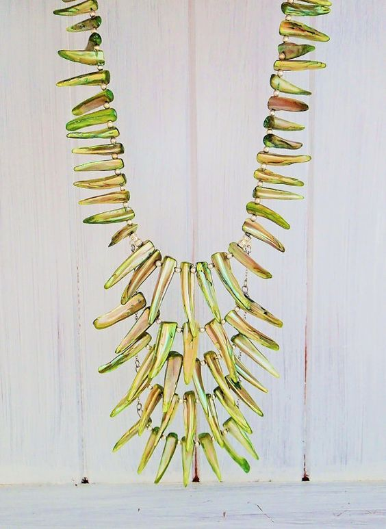Boho Tribal Shell NecklaceLime GreenTooth by TheBohemianOriginal