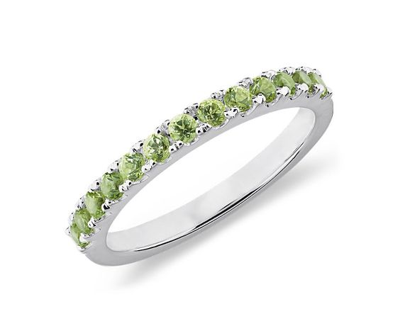 This ring no longer available. If I get a wedding band, maybe peridot to match peridot - pearl - silver jewelry in green - white - gray wedding.