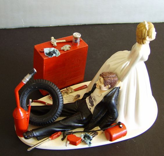 race car driver wedding cake topper racing auto mechanic customized wedding cake topper 18952