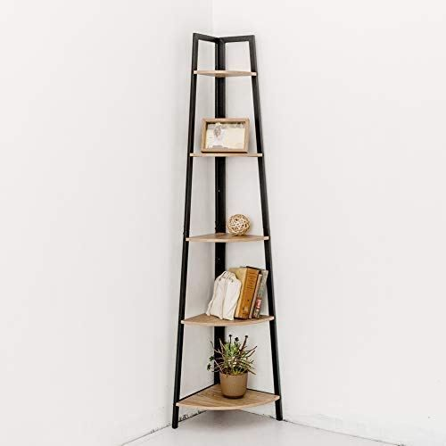 C Hopetree Corner Shelf Industrial Ladder Bookshelf Indoor Plant Stand Ladder Bookshelf Corner Shelves Indoor Corner Plant Stand