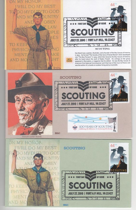 Recently, the Boy Scouts celebrated their 100th anniversary. The U.S. issued a 44-cent stamp to commemorate the anniversary. These three covers depict that stamp.