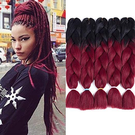 Two Tone Ombre Jumbo Braid Hair Extension For Braids Black To Burgundy 24 5 Pcs Lot Kanekal Crochet Hair Extensions Black Hair Extensions Crochet Hair Styles
