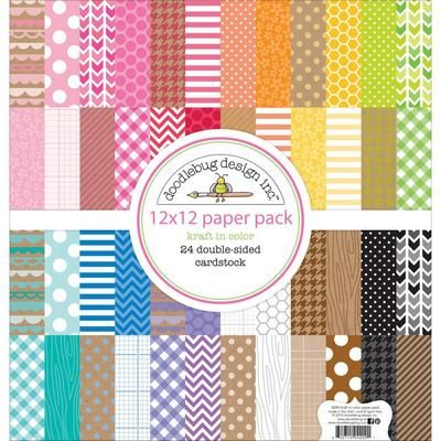 "#324392 Doodlebug Kraft In Color Paper Pack 12""X12"" 24/Sheets   Available: 2/20/14  KK4200   Price: $24.99 Sale! $22.49"