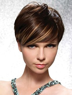 short dark brown hair with blond highlights