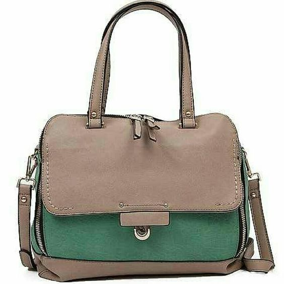 "New! Two Tone Natural Mint Purse New! Urban Expressions Tronto Purse in Natural Mint! Two-tone distressed faux leather bag with zipper closure.  Beautiful spring and summer bag! New, never carried!   Features:  - interior zipper and two pouch pockets  - outer pocket with fold over flap  - removable strap  - dimensions: 12 1/2"" (L) x 5"" (W) x 11"" (H)    No Trades  No PayPal Urban Expressions Bags Shoulder Bags"
