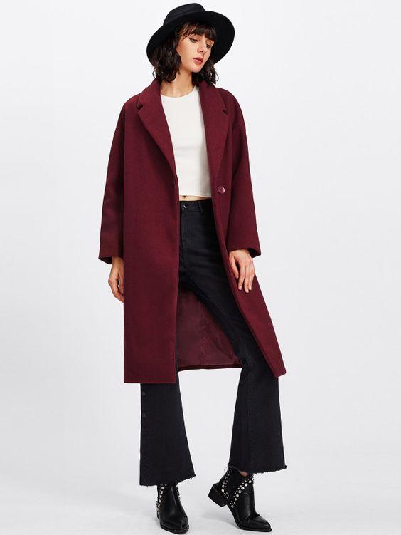 Notch Collar Longline Coat -SheIn(Sheinside)