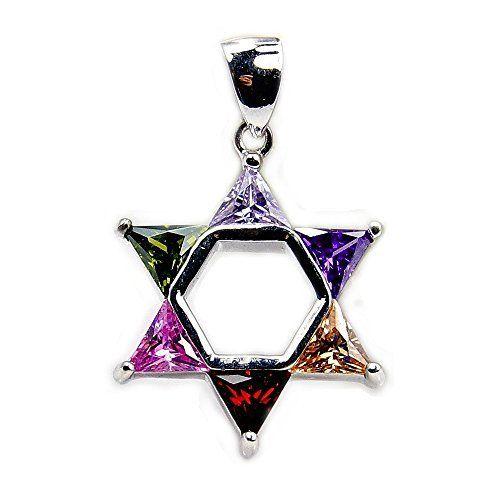Jewish Star of David Sterling Silver Multi-gem Pendant  Price : $35.95 http://www.silverplazajewelry.com/Jewish-Sterling-Silver-Multi-gem-Pendant/dp/B00O7RRR8U