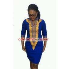 Ladies Blue Polished Cotton Dress With Gold Embroidery Design