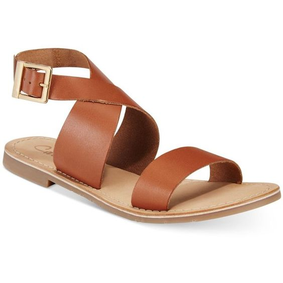 Callisto Babita Flat Sandals ($89) ❤ liked on Polyvore featuring shoes, sandals, tan, ankle wrap sandals, callisto sandals, tan shoes, tan flat sandals and ankle strap flat sandals