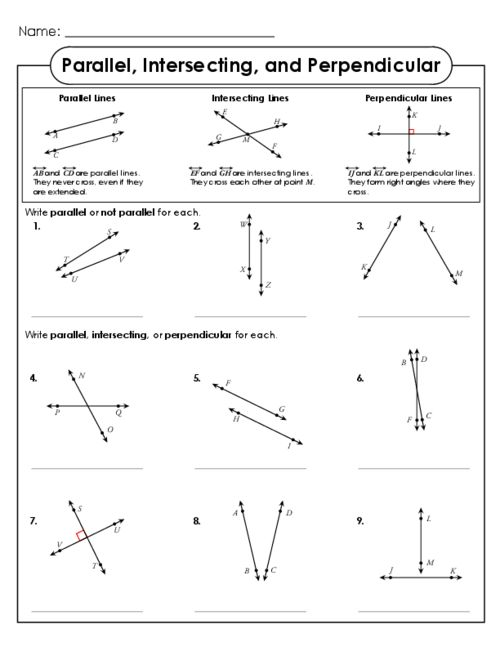 Printables Parallel And Perpendicular Lines Worksheet Answer Key parallel intersecting and perpendicular lines student the o this free printable worksheet is a great way to introduce intersection your math students co