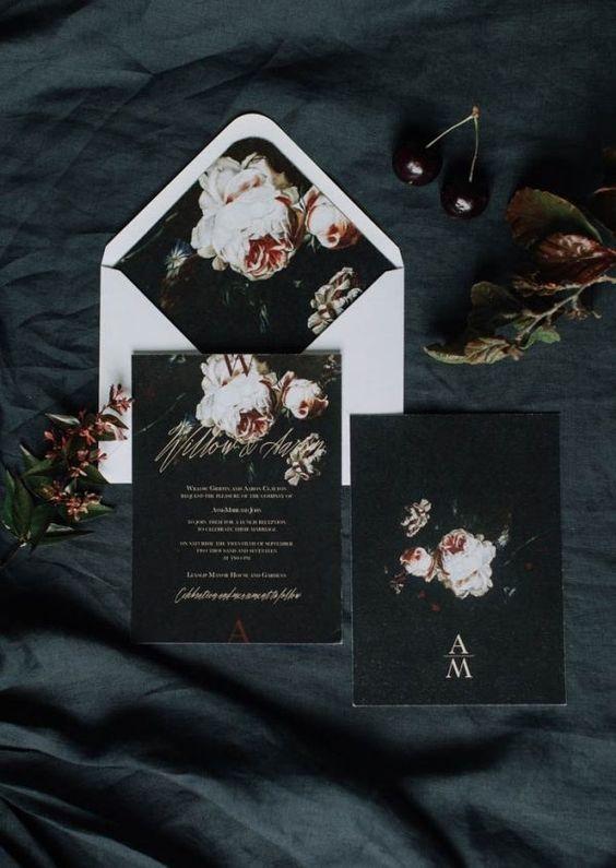 Tmavé svatební oznámení