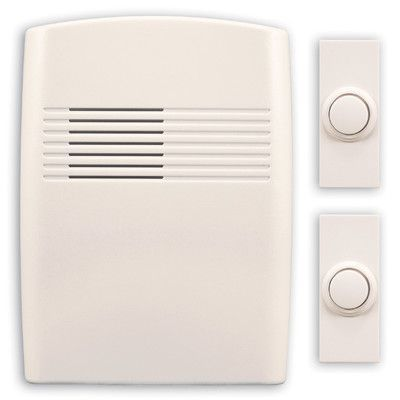 Heath-Zenith Wireless Battery Operated Door Chime Kit with Two Push Buttons