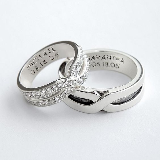 Couples rings - Based on the ancient belief that a vein in the fourth finger connects directly to the heart, rings are an age-old symbol of love. Each in this set of sterling rings is designed to complement and complete its other half—just like a loving couple.