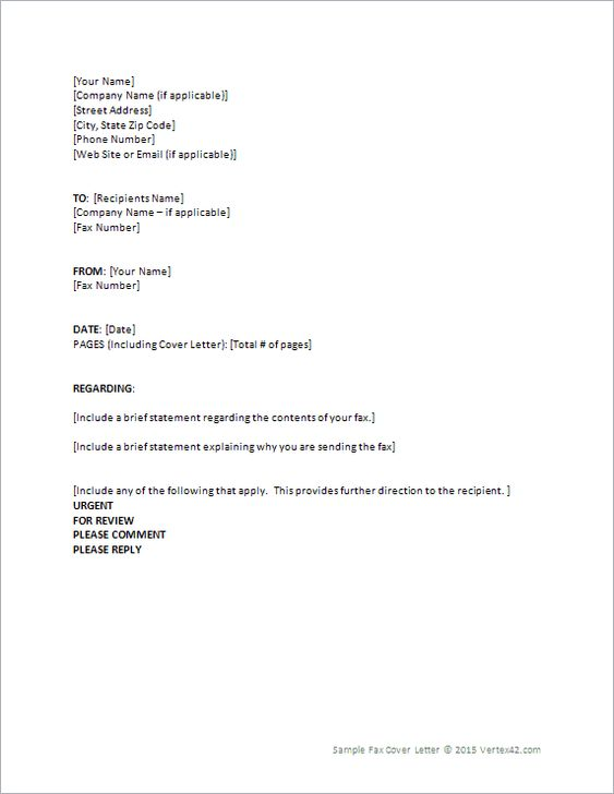 Download the Fax Cover Letter from Vertex42 Helpful Hints - cover letter fax