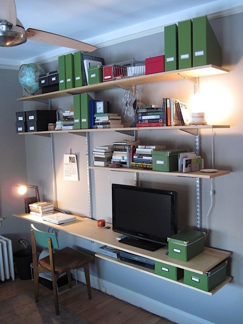 How to build your own modular shelf / desk / entertainment center system  using ClosetMaid components