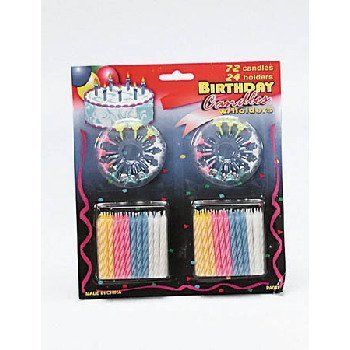 Party Candle Set - Case Pack 72 SKU-PAS53113 by DDI. $54.64. 100% SATISFACTION GUARANTEED. Please refer to the title for the exact description of the item. Allof theproductsshowcased throughoutare100%OriginalBrand Names.. 96 party candles with candle holder. Candles are color striped.