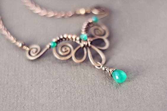 FREE SHIPPING  Wire wrapped hammered oxidized by SabiKrabi on Etsy, $40.00