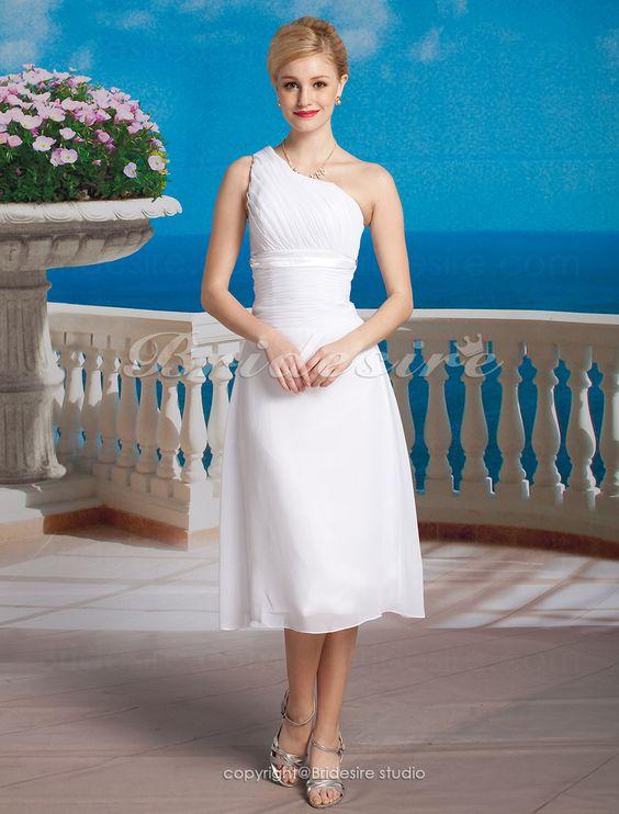 The Green Guide - Sheath/ Column Chiffon Tea-length One Shoulder Wedding Dress [172452] - US$99.99 : The Green Guide