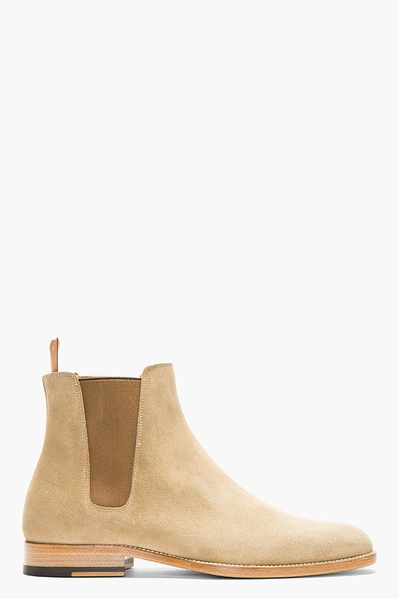 SAINT LAURENT Tan Suede Chelsea Boots.  Town meets country! As it should be!  It's closer than you think!  http://www.landedhouses.co.uk
