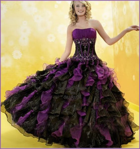 black and purple wedding dresses  ... Purple /Black Organza ...