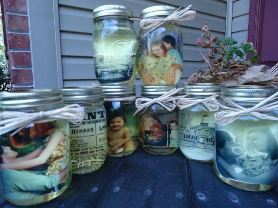 Centerpieces- Old photos, mason jars, and cooking oil