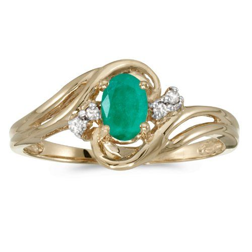 Vintage 14K Yellow Gold Natural Genuine Oval Emerald /& Diamond Bypass Ring