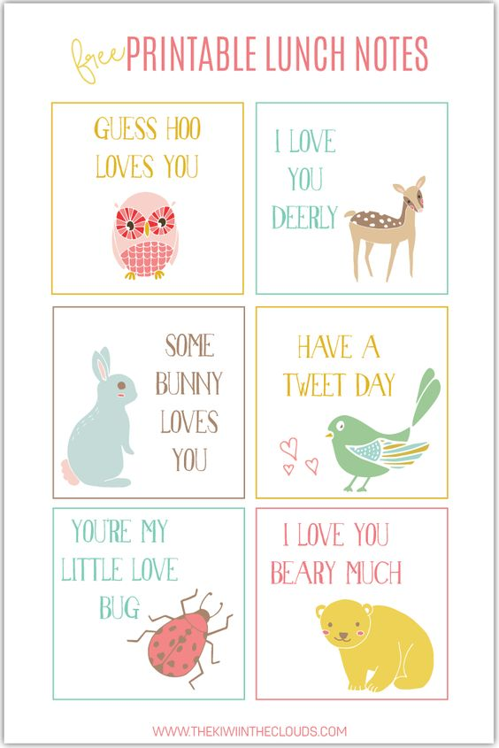 Free Printable School Lunch Notes for Kids