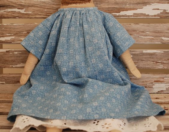 early blue calico dress, made by me