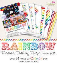 Rainbow Birthday Party Printable Decor Kit (Digital File)