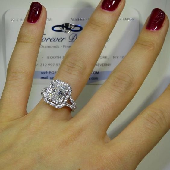 Today we are going to feature this GIA certified 1.95 carat Radiant Cut G color VS2 $16,750  MOST Radiant Cuts are not this Large so don't pass this up. This beautiful double halo ring $3500. PLEASE NOTE STONE ISN'T SET