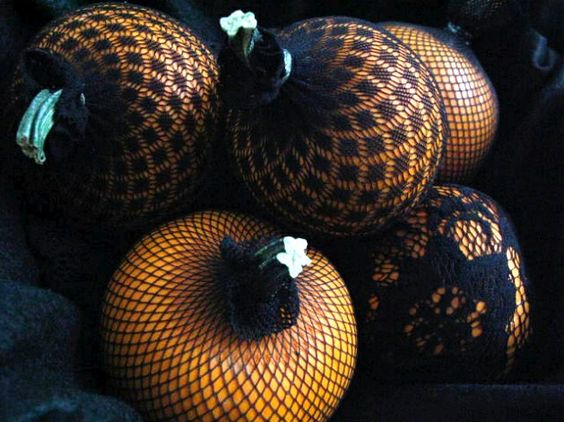 Use lacy pantyhose to cover small pumpkins
