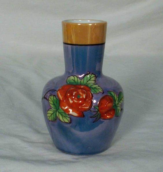 Sumidagawa Japan Blue & Orange Luster Vase with Rasied Roses Motif #Sumidagawa