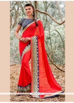 Tiptop Red Patch Border Work Georgette Designer Saree