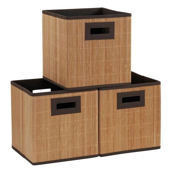 Household Essentials 3 Pack Wood Cloth Bins Kids Storage Bins Household Essentials Cube Storage