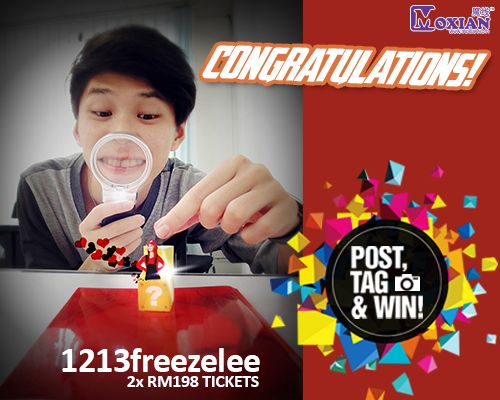We are feeling extra generous today and have decided to give away a pair of tickets worth RM198.  Congratulations to our lucky surprise winner 1213freezelee !!  PM us your contact details on our Facebook / PM on MO_Contest our MO-Promo page for prize redemption :   Name :  Contact No :  Email address :  Please collect your tickets at Moxian booth on 13 December 2014 between 4.00 to 6.00pm.   #MoxianContest #HebeIF