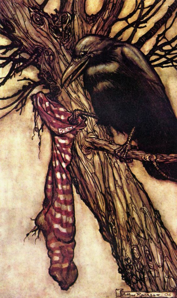 Solmon and the Stocking (from Peter Pan in Kensington Gardens)  by Arthur Rackham.