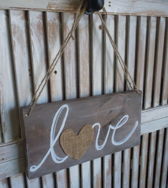 Wooden Love Sign with Burlap by thewoodedlane on Etsy, $18.00