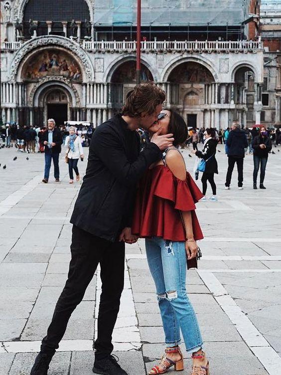 modern relationships; couple kissing