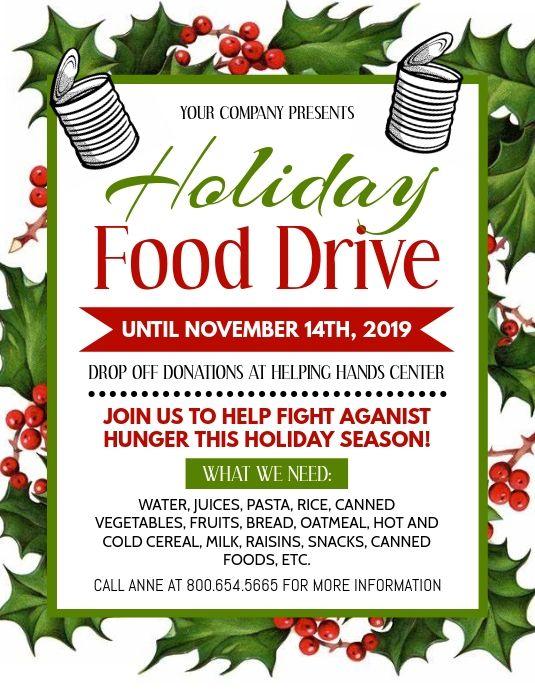 Holiday Food Drive Food Drive Flyer Food Drive Food Donation